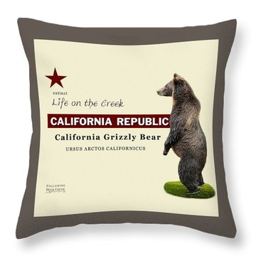 Extinct California Grizzly Bear Throw Pillow