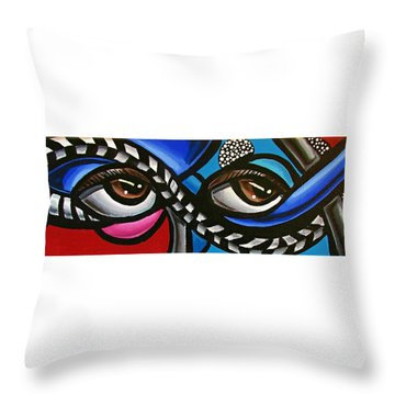 Eye Art Painting Abstract Chromatic Painting Electric Energy Artwork Throw Pillow
