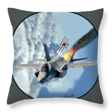 F-35 Vs The Red Baron Throw Pillow