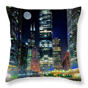 Fabulous Full Moon Over The Windy City Throw Pillow