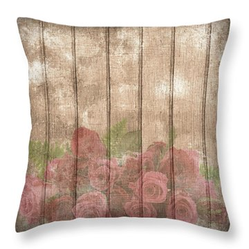 Faded Red Country Roses On Wood Throw Pillow