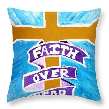 Faith Over Fear Cross  Throw Pillow