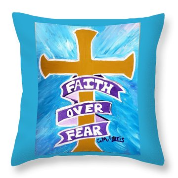 Throw Pillow featuring the painting Faith Over Fear Cross  by Christopher Farris
