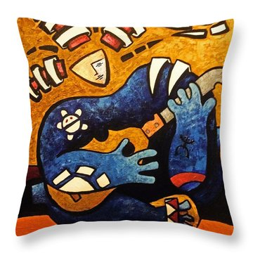 Throw Pillow featuring the painting Fajardo Dreaming by Oscar Ortiz
