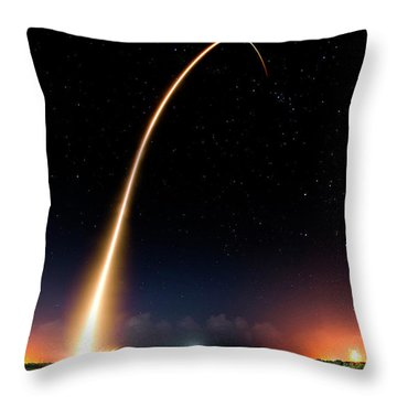 Falcon 9 Rocket Launch Outer Space Image Throw Pillow