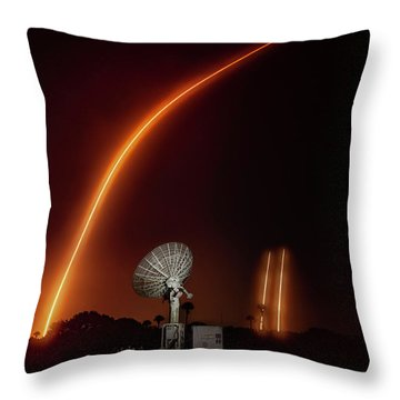Falcon Heavy Night Launch And Landing Throw Pillow