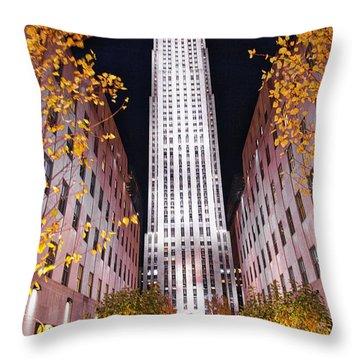 Fall At Rockefeller Center Throw Pillow