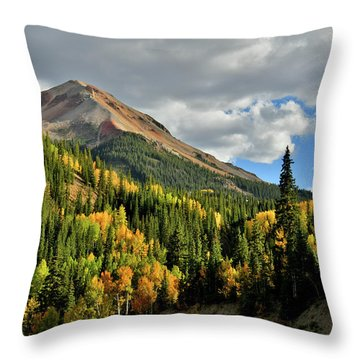Throw Pillow featuring the photograph Fall Color Aspens Beneath Red Mountain by Ray Mathis