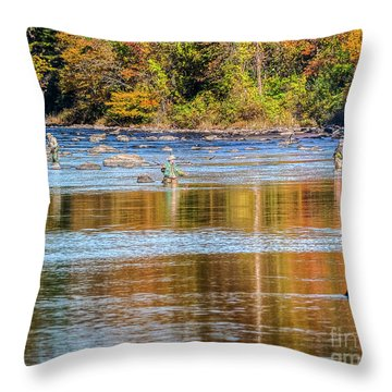 Fall Fishing Reflections Throw Pillow