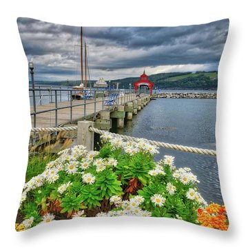 Throw Pillow featuring the photograph Fall Flowers At Seneca Lake Marina by Lynn Bauer