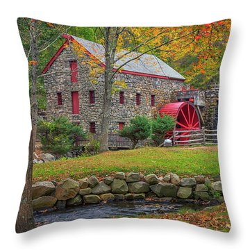 Fall Foliage At The Grist Mill Throw Pillow