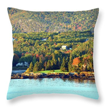 Throw Pillow featuring the photograph Fall Foliage In Bar Harbor by Bill Swartwout Fine Art Photography
