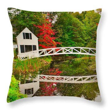 Fall Footbridge Reflection Throw Pillow