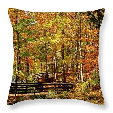 Fall Hike At Mirror Lake Throw Pillow