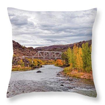Fall Panorama Of Rio Grande Del Norte At Orilla Verde And Taos Canyon - New Mexico Desert Southwest Throw Pillow