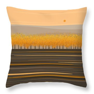 Fall Trees In A Row Throw Pillow