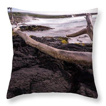 Fallen Tree At Punalu'u Beach Throw Pillow