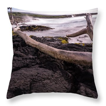 Fallen Tree At Punalu'u Beach Throw Pillow