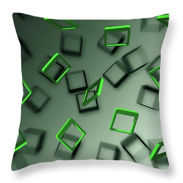 Falling Green Throw Pillow