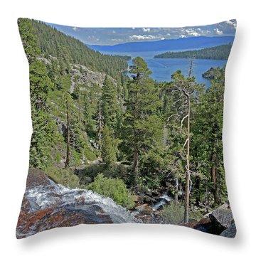 Throw Pillow featuring the photograph Falls Above Emerald Cove by Lynda Lehmann