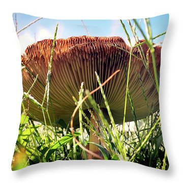 Throw Pillow featuring the photograph False Death Cap Gilled Fungi Mushroom by Bill Swartwout Fine Art Photography