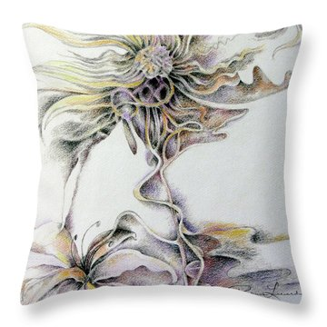 Throw Pillow featuring the drawing Fantasy by Rosanne Licciardi