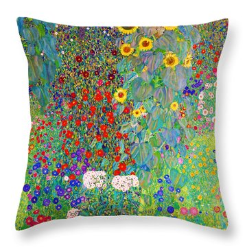 Farm Garden With Sunflowers - Digital Remastered Edition Throw Pillow