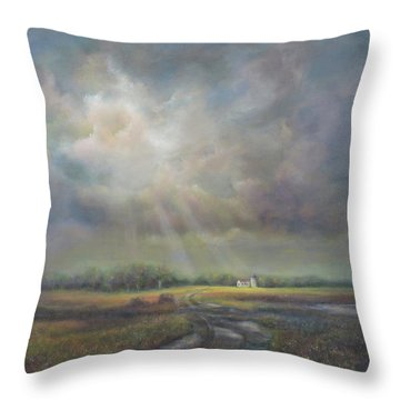 Farm In Spring Throw Pillow