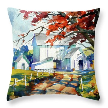 Farm Shadows Throw Pillow by Art Scholz