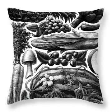 Farmer's Market - Bw Throw Pillow