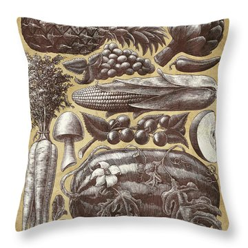 Farmer's Market - Sepia Throw Pillow