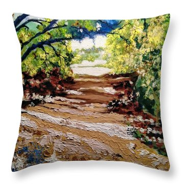 Throw Pillow featuring the painting Fascinating Trail by Ray Khalife