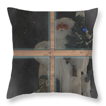 Father Christmas In Window Throw Pillow