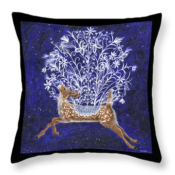 Fawn Bouquet Throw Pillow