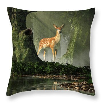 Fawn In The Forest Throw Pillow