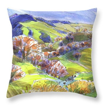 February Landscape With Mount Diablo Throw Pillow