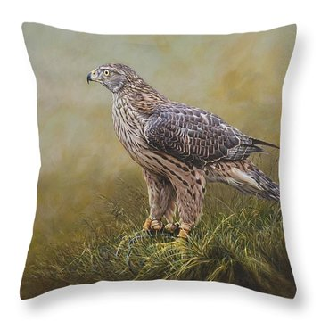 Female Goshawk Paintings Throw Pillow