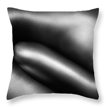 Female Nude Silver Oil Close-up 3 Throw Pillow