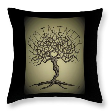 Throw Pillow featuring the drawing Femininity Love Tree B/w by Aaron Bombalicki