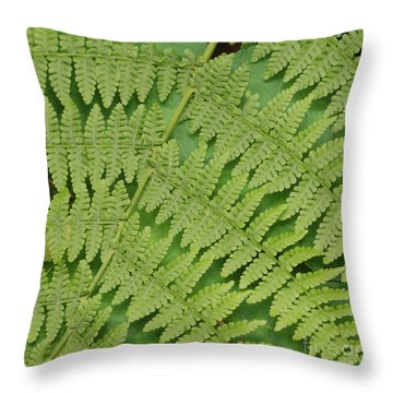 Fern Fronds Over Green Leaf Throw Pillow