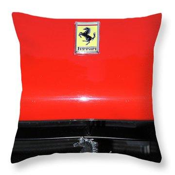 Ferrari Horse Logo On Red Car Throw Pillow