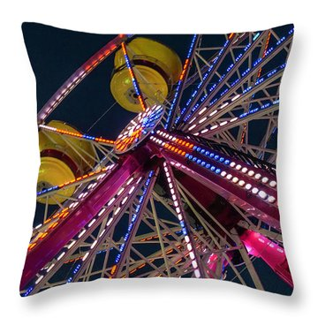 Ferris Wheel At Night Throw Pillow