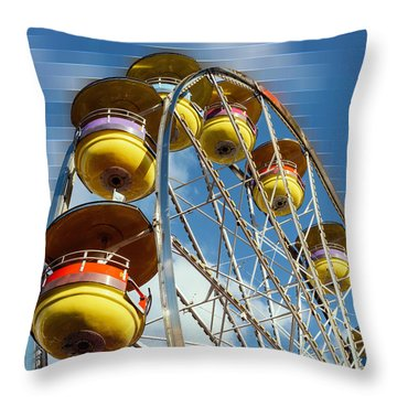 Ferris Wheel On Mosaic Blurred Background Throw Pillow