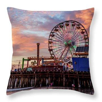 Ferris Wheel On The Pier - Square Throw Pillow