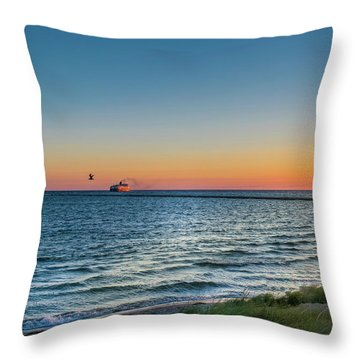 Ferry Going Into Sunset Throw Pillow