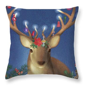 Festive Deer Throw Pillow