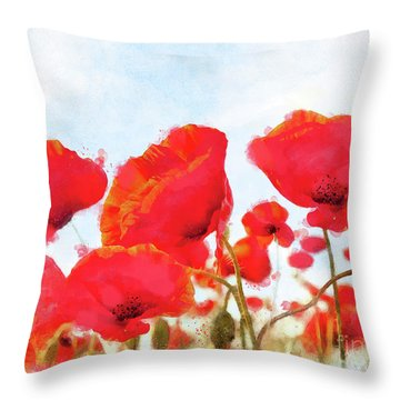 Field Of Dreams Poppy Watercolor Floral Art Throw Pillow