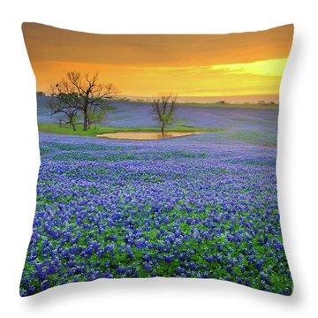 Field Of Dreams Texas Sunset - Texas Bluebonnet Wildflowers Landscape Flowers  Throw Pillow