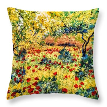 Throw Pillow featuring the painting Field Of Poppies by Ray Khalife