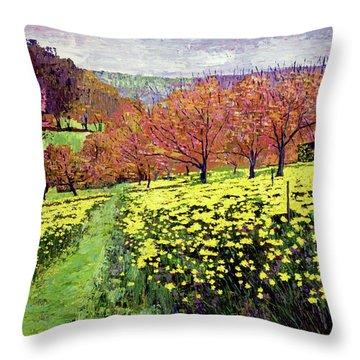 Fields Of Golden Daffodils Throw Pillow